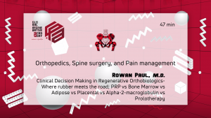 A powerpoint slide about orthopedics, spine surgery, and pain management by Rowan Paul, M.D.