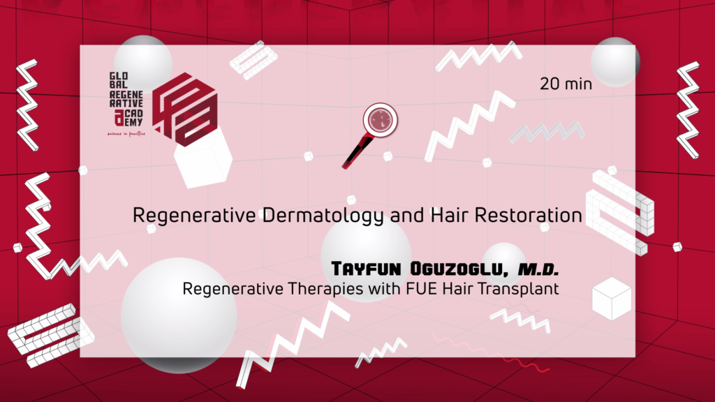 A powerpoint slide about regenerative dermatology and hair restoration by Tayfun Oguzoglu, M.D.