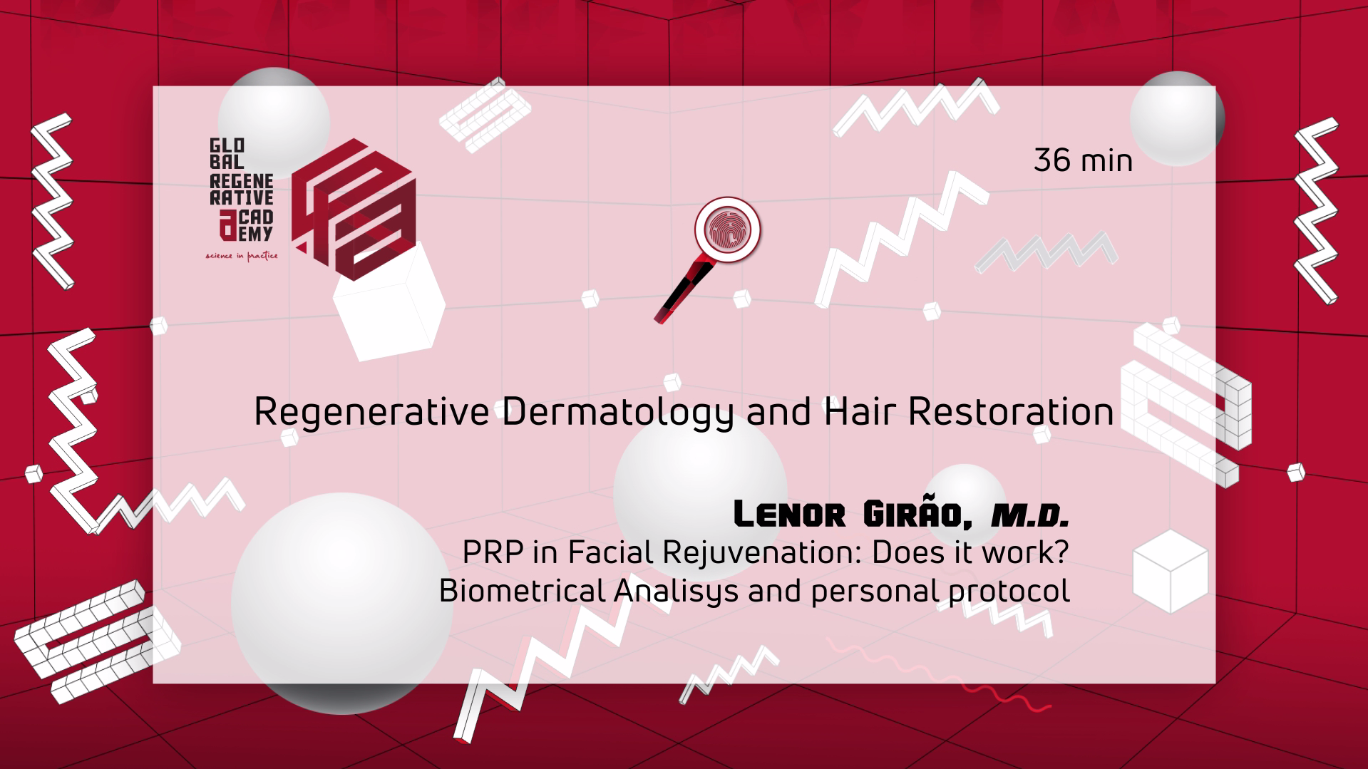 A powerpoint slide about regenerative dermatology and Hair Restoration by Lenor Girao, M.D.